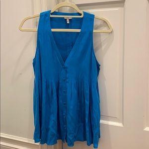 Joie blue silk sleeveless blouse top pleated